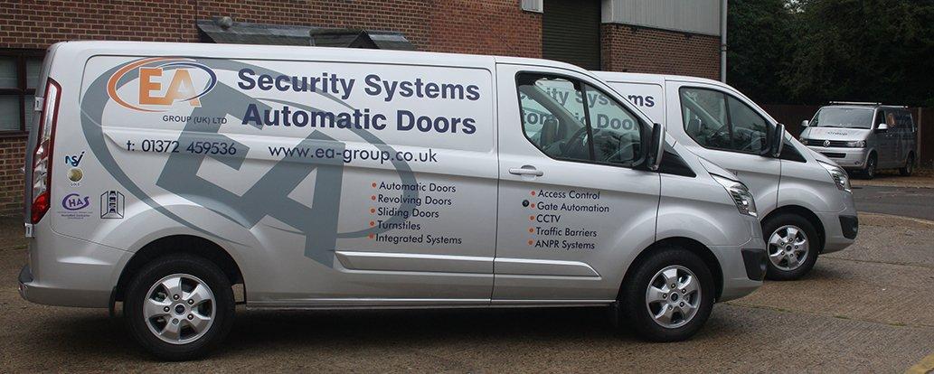 EA Group vans outside Bookham head office