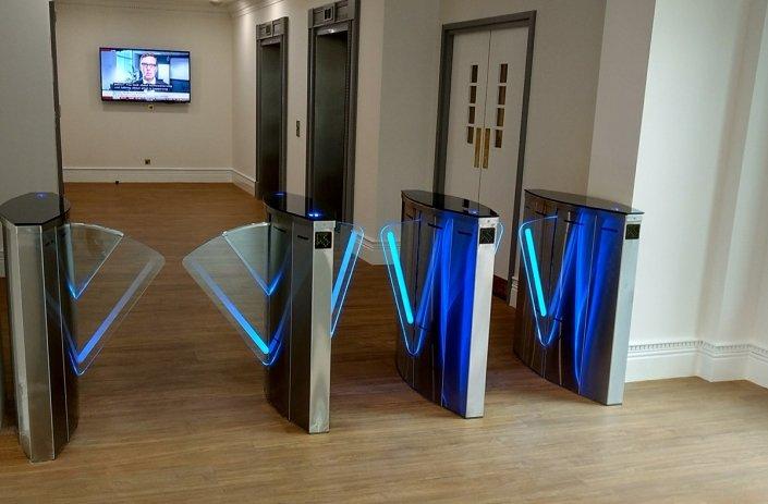 SpeedLane Speed Gate fitted in an office reception