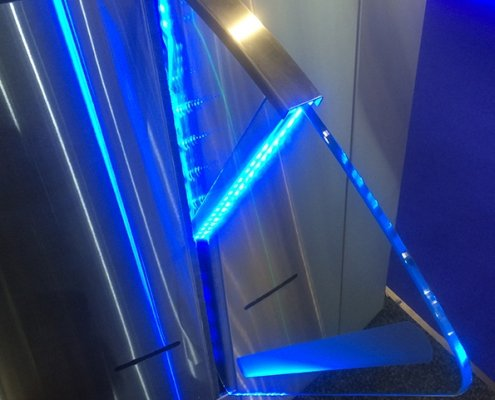 Speed Lane barriers illuminated in blue LED lighting