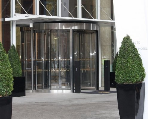 high capacity revolving doors at the entrance to the Shard London