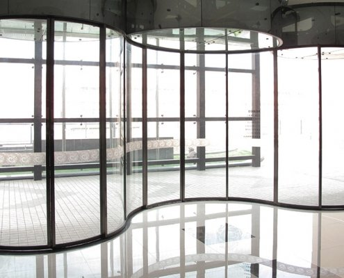 EA Curved Sliding Doors in a wave wall design