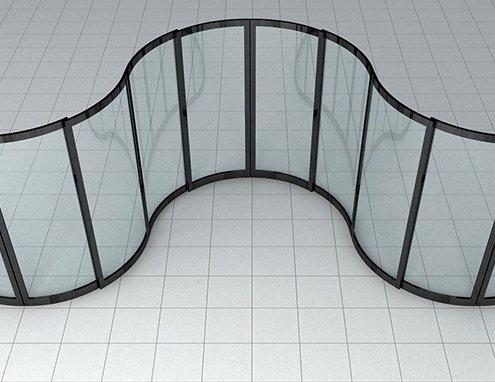 Curved sliding door wave design