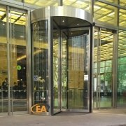 EA Group revolving door installation at Canary Wharf, London
