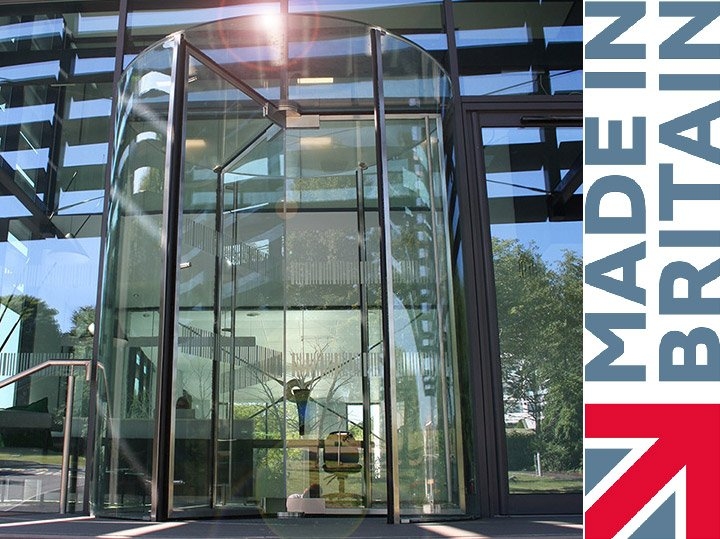 EA All Glass Revolving Door that is Made In Britain