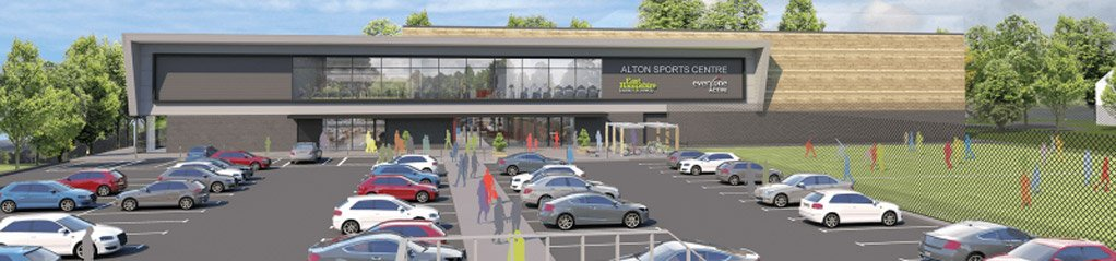 Render of the new Alton Sports Centre that will feature an EA Revolving Door