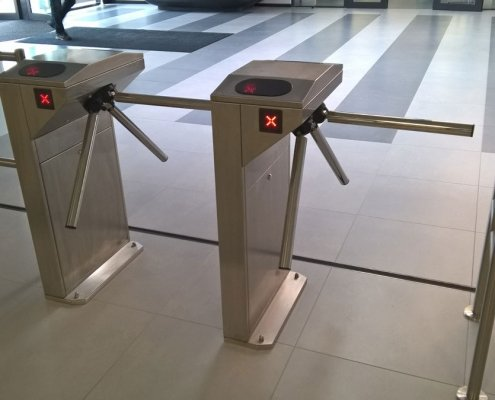 EA Rotary Turnstile installed within an office environment
