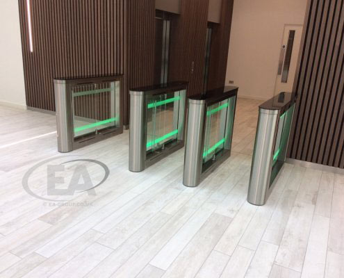 EA Swing Lane Speed Gates installed within a head office