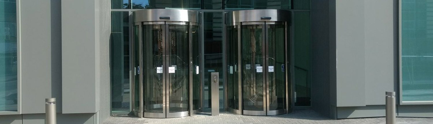 Curved sliding doors installed by EA Group UK Limited