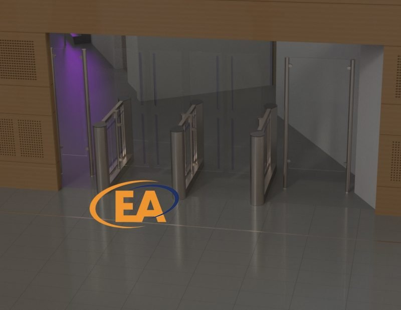 A CAD rendered impression by EA Group of WHG Walsall showing High Glass Speed Gates turnstiles installed