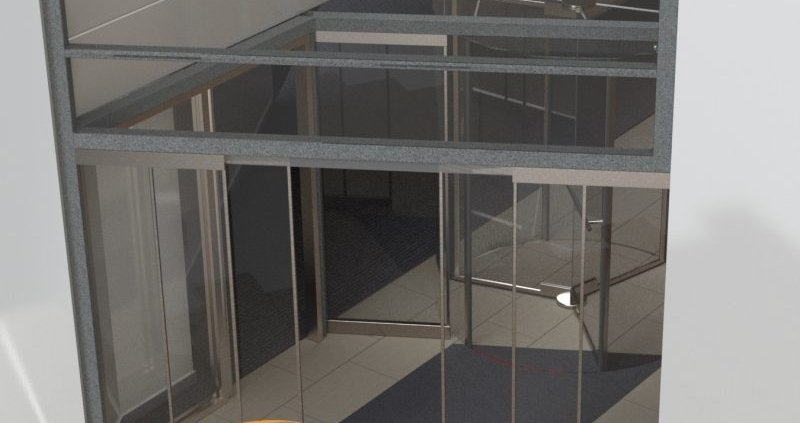 A rendered impression of the new entrance at the WHG Walsall building showing new revolving door installed