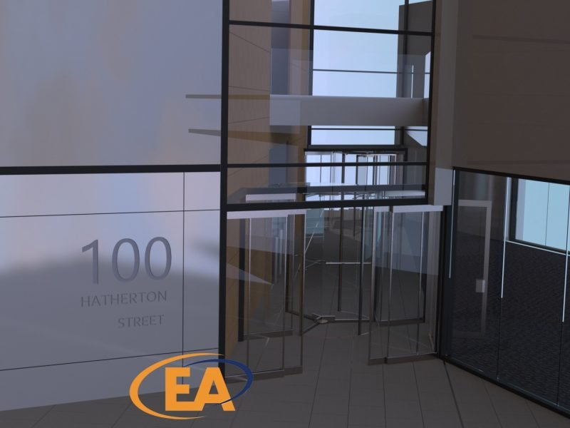 A rendered impression of how the WHG Walsall building will look when complete, showing the new revolving doors