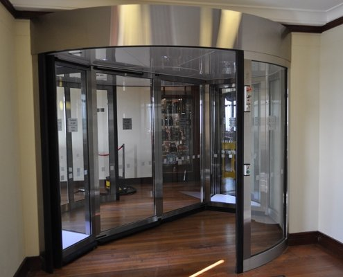 High capacity revolving door at a library entrance