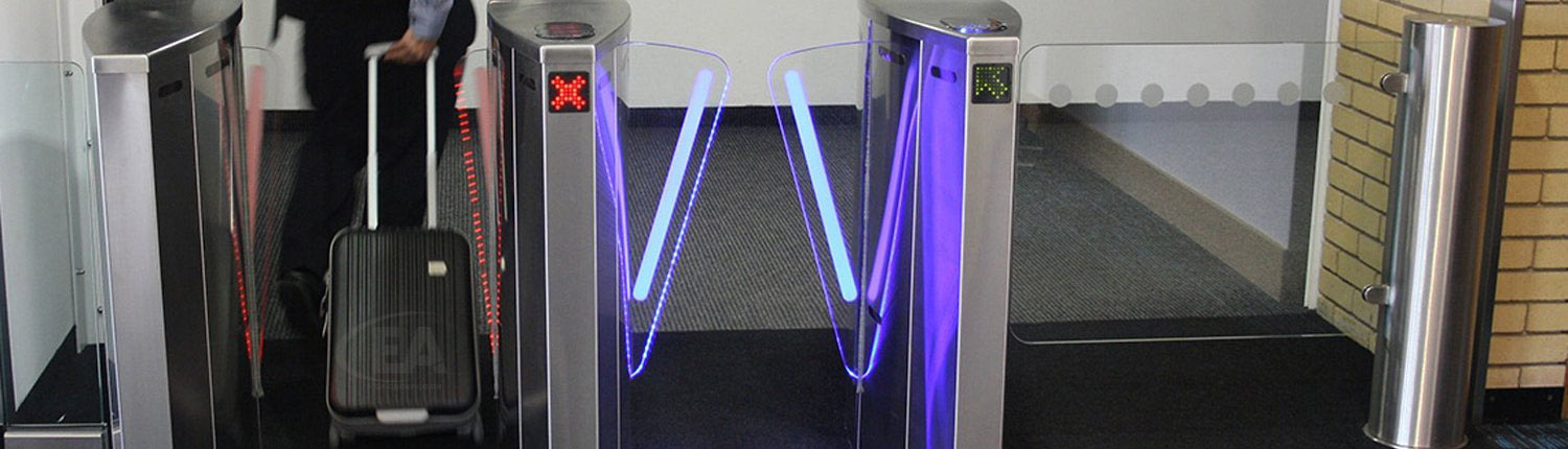 EA Speed Gates with person and suitcase passing through