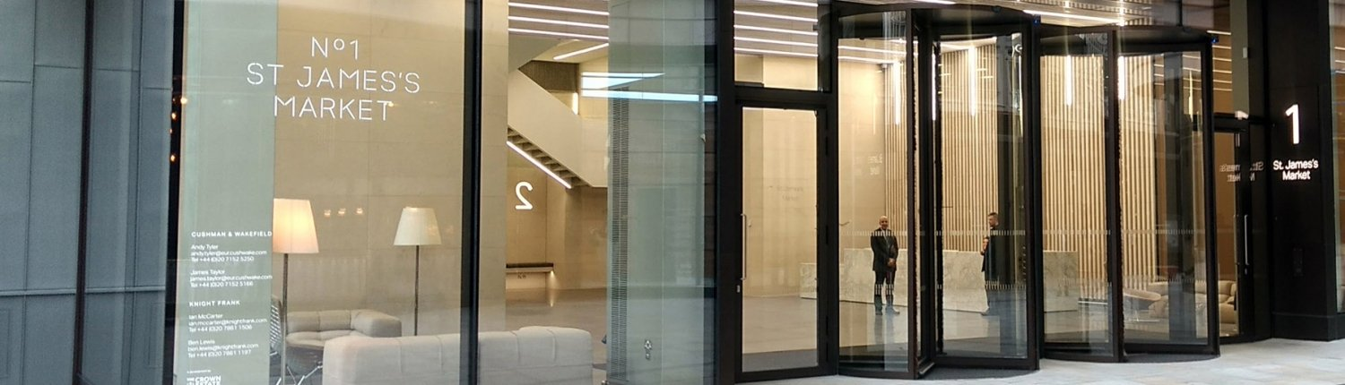 Automatic revolving doors supplied and installed by EA Group at St James's Market in London