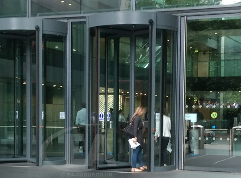 Tall Revolving Door by EA Group installed within the London financial district