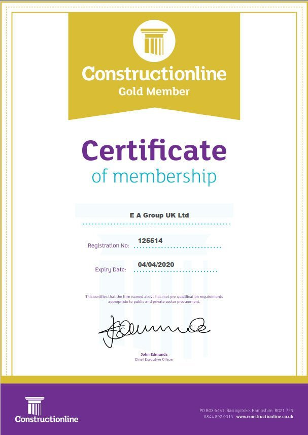 ConstructionLine Gold certificate awarded to EA Group