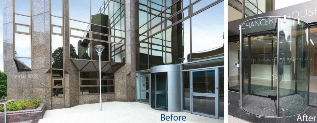 Before and after image of a Revolving Door installation