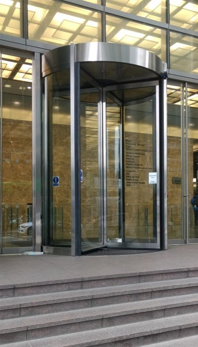 Bespoke 3.5 Metre Tall Revolving Door at Canary Wharf